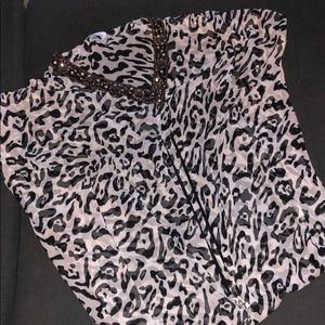 Other - Black and White Beaded Top Silk Coverup Beautiful
